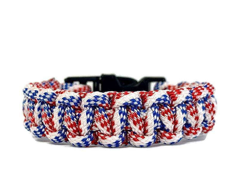 Engineered red, white and blue rope paracord bracelet