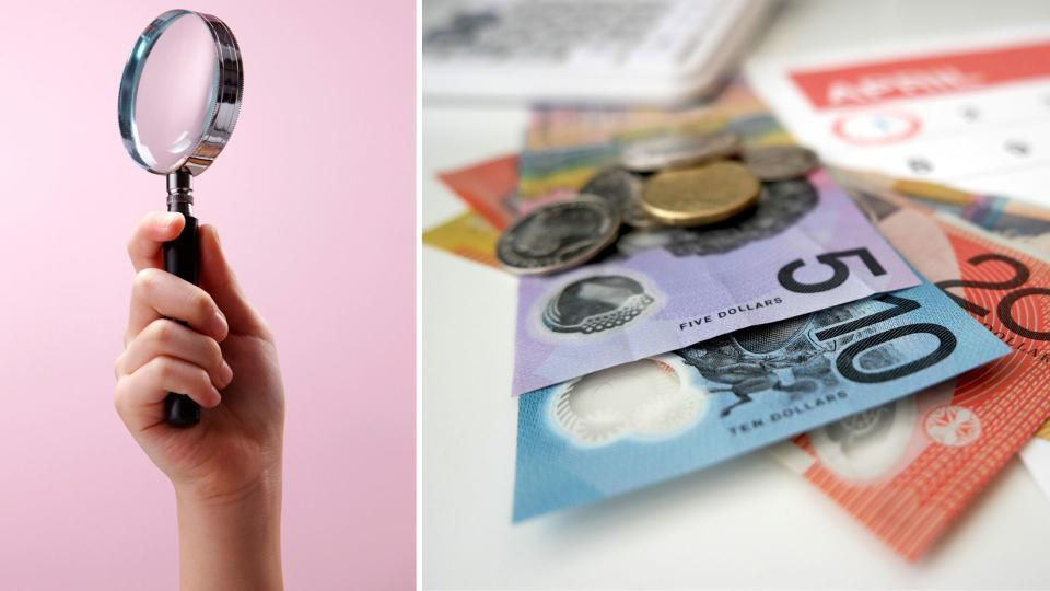Image: Magnifiying glass, Australian cash and calendar suggesting ATO monitoring tax time. Images: Getty