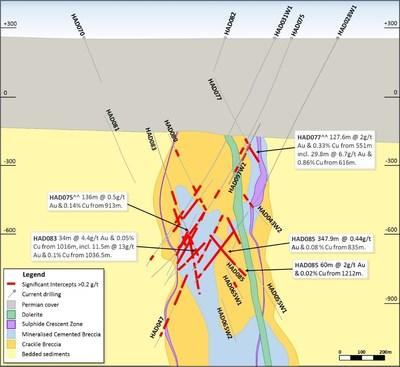 Figure 12. Schematic cross section (looking north, Section Line 2a-2b, 200m section width, as shown in Figure 10). (CNW Group/Newcrest Mining Limited)