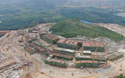 Aerial view of data storage center for Huawei at the Guian New Area in Guiyang, Guizhou Province of China. The first phase of construction covers an area of 400,000 square meters, which will operate about 600,000 servers to store Huawei's management data from 170 countries. May 14, 2019. - Credit: Visual China Group