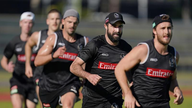 Collingwood train on Monday in preparation for the resumption of the 2020 AFL season
