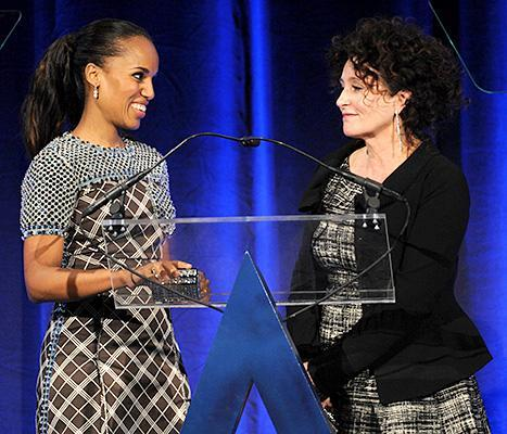 Kerry Washington and her Scandal costume designer, Lyn Paolo, take the stage at the 18th Annual Accessories Council ACE Awards in NYC on Nov. 3.