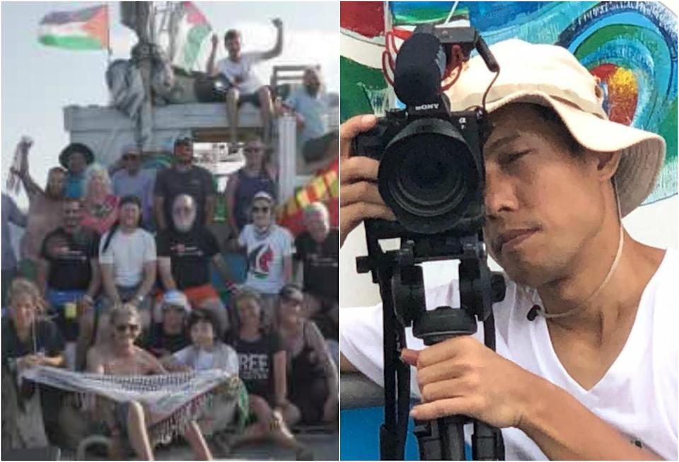 Low-resolution photo transmitted from the Al Awda during its final hours of navigation (left) and Singaporean Jason Soo (right). (PHOTOS: Freedom Flotilla Coalition website)