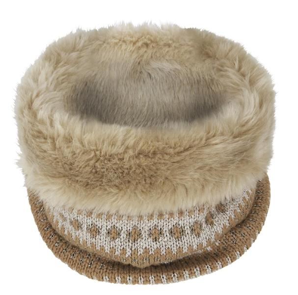 """This undated image provided by Banana Republic shows Banana Republic's Fair Isle Faux-Fur Neckwarmer. From faux fur coats to """"vegan leather"""" accents, faux fur gifts are trending, in 2013. (AP Photo/Banana Republic)"""