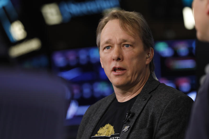 Canopy Rivers founder, Chairman & co-CEO Bruce Linton is interviewed on the floor of the New York Stock Exchange, Thursday, March 7, 2019. (AP Photo/Richard Drew)