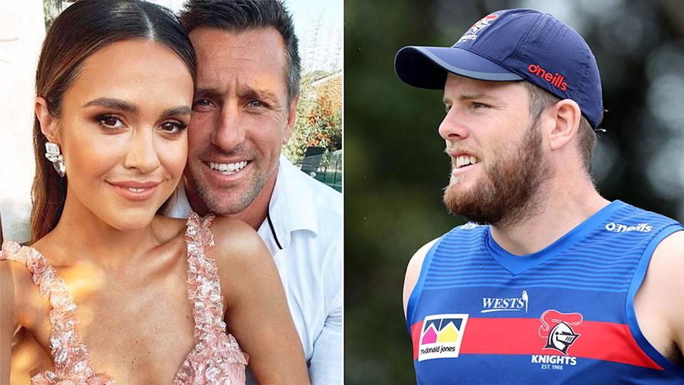 Lachlan Fitzgibbon is pictured right alongside a photo of Mitchell Pearce with partner Kristin Scott.