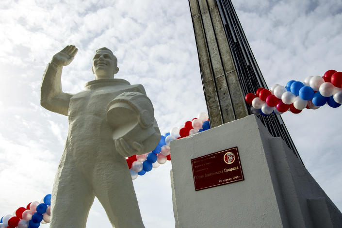 The monument of Yuri Gagarin at the landing site of the first spaceman in the world Yuri Gagarin, located in Engels District of Saratov region in Moscow, Russia, Wednesday, March 16, 2011. From a giant statue towering over Moscow to a more modest monument on the Sakhalin Island in the Pacific Ocean, dozens of memorials across Russia commemorate Yuri Gagarin, the cosmonaut who became the first person in space on April 12, 1961, 60 years ago. (AP Photo/Yuri Nabatoff)