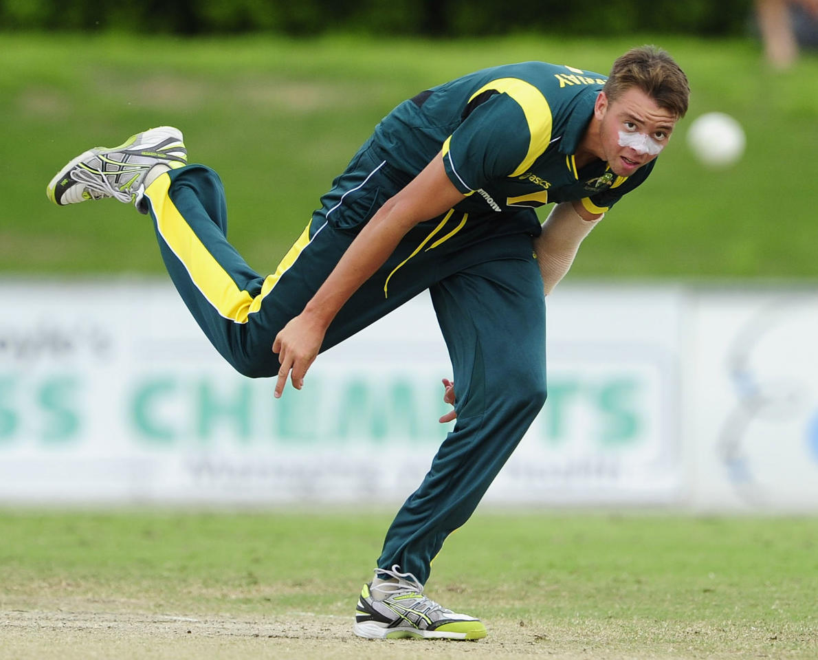 TOWNSVILLE, AUSTRALIA - APRIL 15:  Harry Conway of Australia bowls during the match between Australia and India on day five of the U19 International Quad Series at Tony Ireland Stadium on April 15, 2012 in Townsville, Australia.  (Photo by Ian Hitchcock/Getty Images)