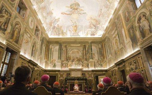 Pope Benedict XVI addresses cardinals in the Clementine Hall at the Vatican