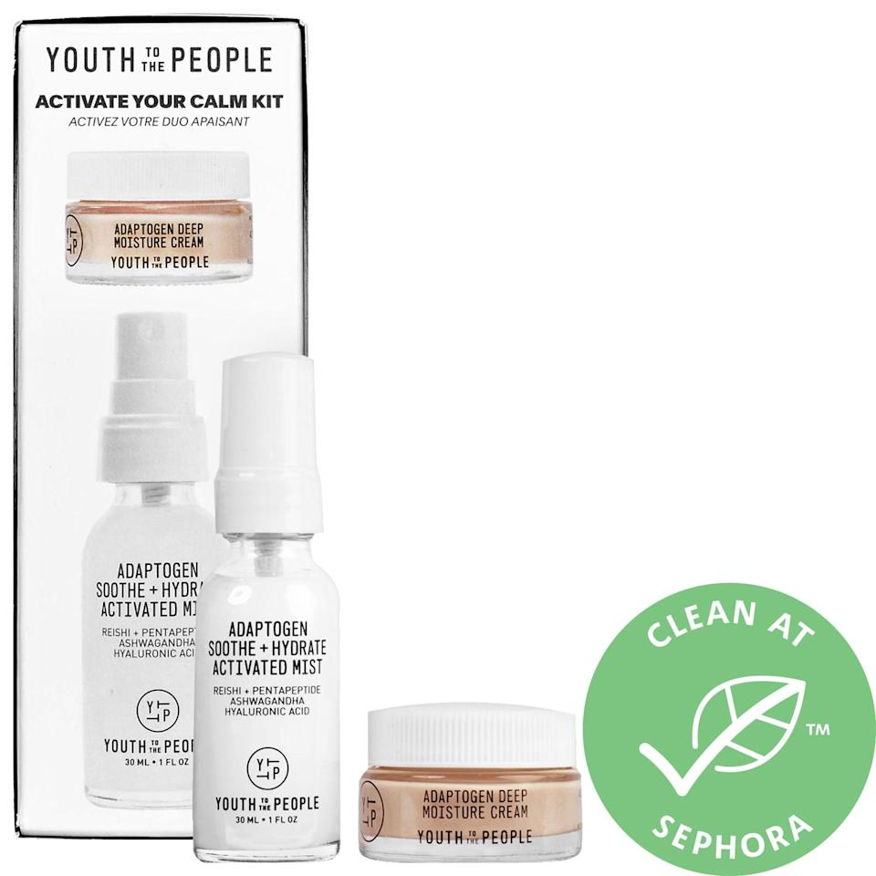 <p>If only we could speak it into existence, but the aptly named <span>Youth To The People Activate Your Calm Kit</span> ($24) still packs together a rich cream and a moisturizing mist to soothe dehydrated skin (plus earned an average 4.6 rating from other shoppers). Peptides alongside adaptogens reishi and ashwagandha also reduce redness and guard against any environmental stressors that brought about the unwanted reaction in the first place.</p>
