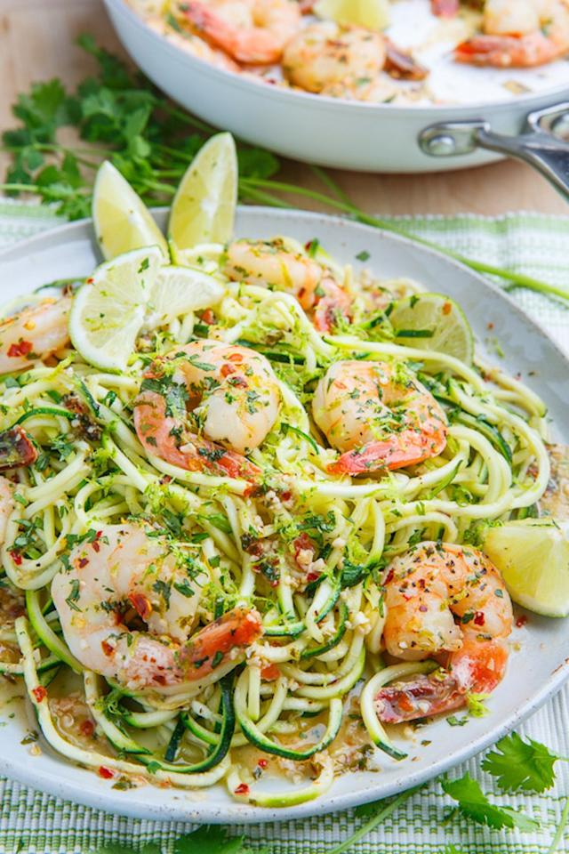 "<p>This low-carb take on a restaurant favorite tastes even better al fresco. It's a little low in calories, so consider doubling the portion size (don't have to tell us twice!). Get the recipe <a rel=""nofollow"" href=""http://www.closetcooking.com/2016/07/cilantro-lime-shrimp-scampi-with.html?mbid=synd_yahoofood"">here</a>.</p><p><b>Per one double serving:</b> <em>340 calories, 14 g carbs</em></p>"