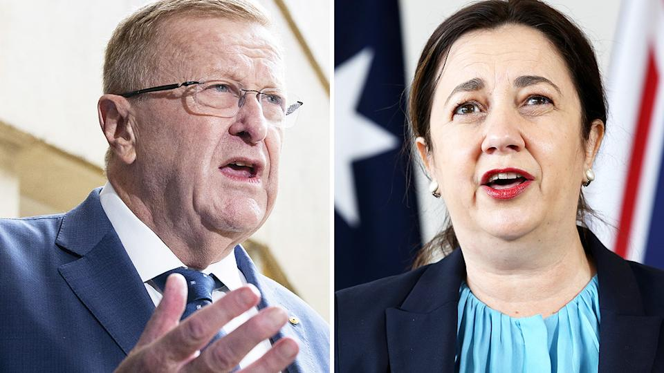 John Coates and Annastacia Palaszczuk had an awkward exchange after securing the 2013 Olympics for Brisbane.