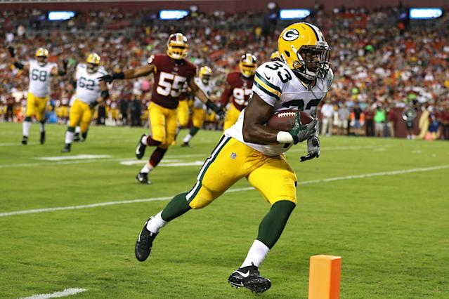 "Will the Packers finally unleash <a class=""link rapid-noclick-resp"" href=""/nfl/players/30295/"" data-ylk=""slk:Aaron Jones"">Aaron Jones</a>? (Photo by Patrick Smith/Getty Images)"