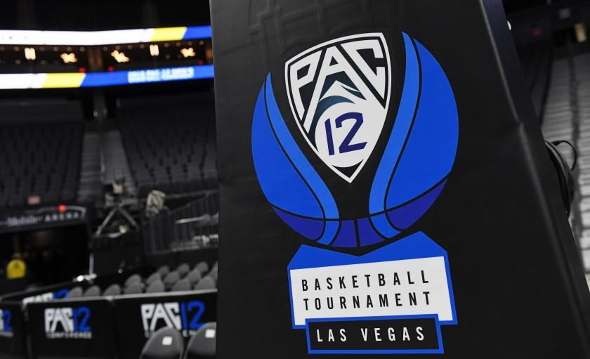 "A Pac-12 basketball logo is shown on a stanchion before a semifinal game of the of the Pac-12 basketball tournament on March 15, 2019 in Las Vegas. <span class=""copyright"">(Ethan Miller/ Getty Images)</span>"