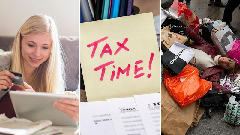 """Woman using her credit card, Post-It note that says """"tax time"""" and a woman collapsed with shopping bags."""