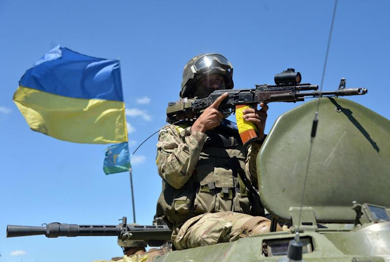 Ukrainian forces head to the north of the Donetsk region on July 3, 2014 to take part in an anti-terrorist operation