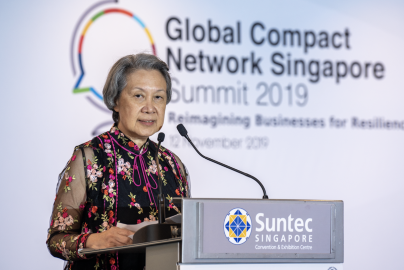 Executive Director and CEO, Temasek Holdings Pte Ltd, Ho Ching, speaking at the Global Compact Network Singapore Summit 2019 on 12 November