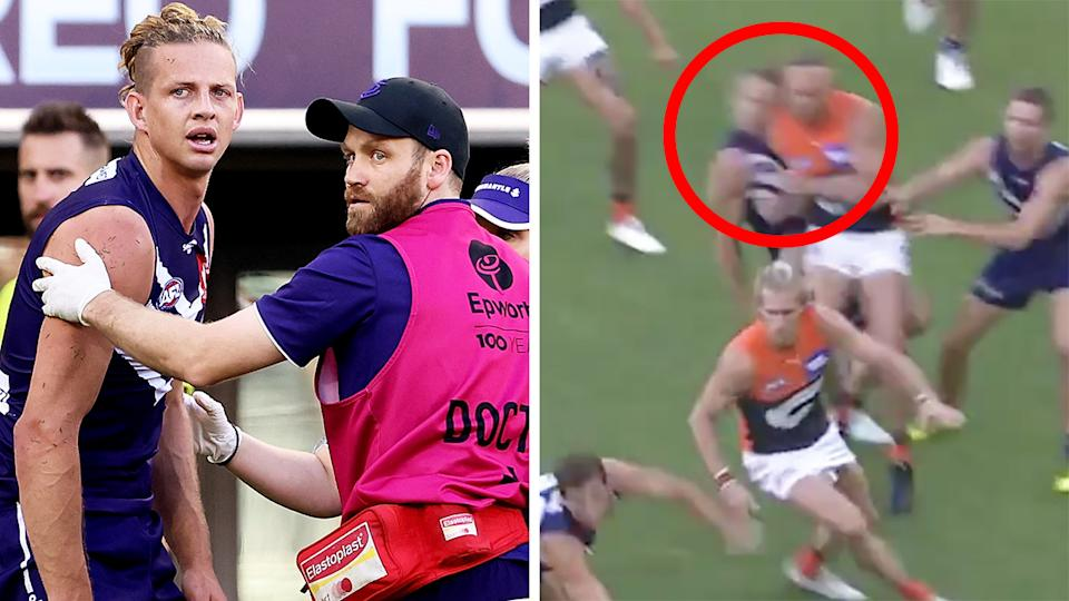 The two-week ban handed to GWS Giants utility Sam Reid for his high hit on Fremantle's Nat Fyfe has led to an accusation of inconsistency directed at the AFL. Pictures: Getty Images/AFL