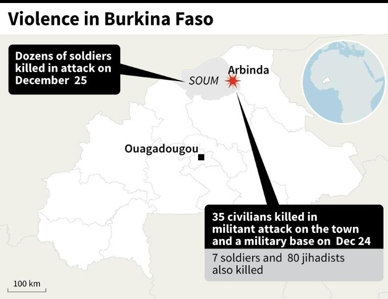 Map Burkina Faso showing deadly violence this week
