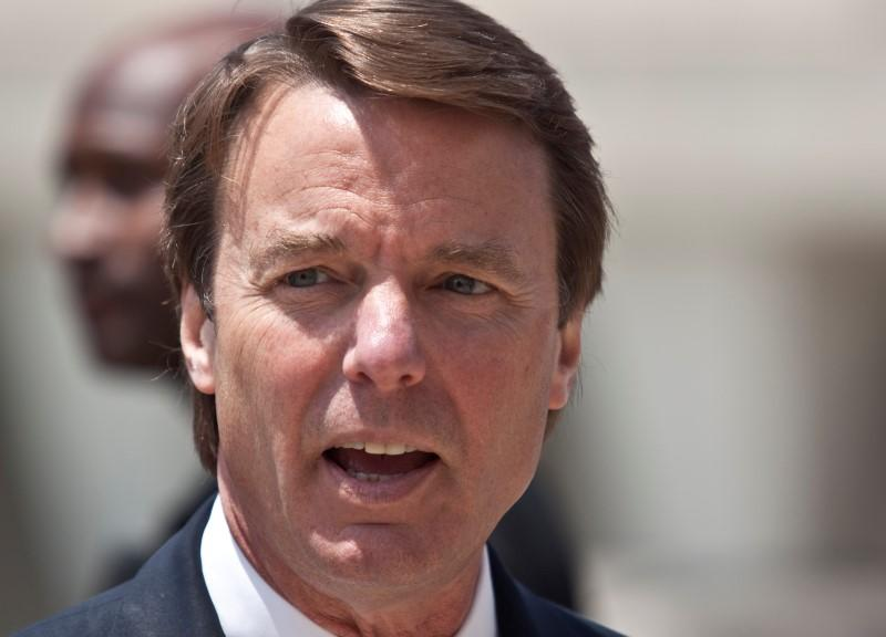 John Edwards arrives for the ninth day of jury deliberations at the federal courthouse in Greensboro