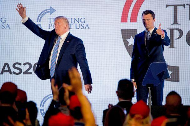 PHOTO: President Donald Trump is joined on stage with Turning Point USA Founder Charlie Kirk as he finishes speaking at Turning Point USA Teen Student Action Summit at the Marriott Marquis in Washington, Tuesday, July 23, 2019. (Andrew Harnik/AP, File)