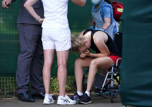Jones suffered from cramp at the end of her match