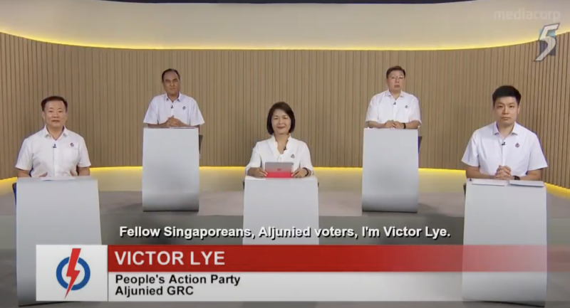 People's Action Party candidates for Aljunied GRC speaking at a televised constituency political broadcast on 3 July 2020. (SCREENSHOT: Mediacorp)