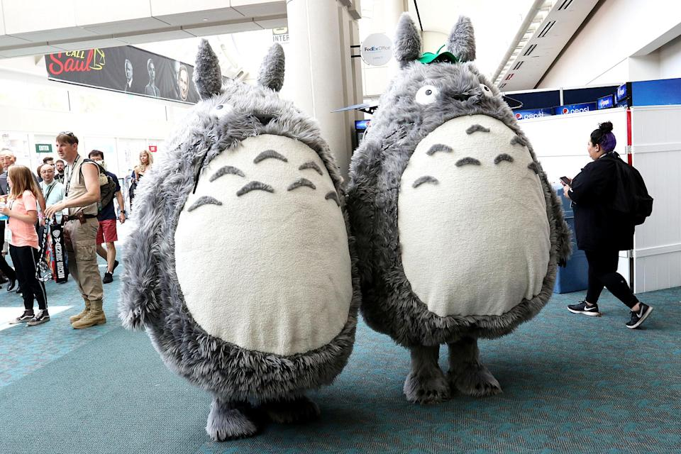 <p>Cosplayers dressed as Totoro from <i>My Neighbor Totoro</i> at Comic-Con International on July 21, 2018, in San Diego. (Photo: Angela Kim/Yahoo Entertainment) </p>
