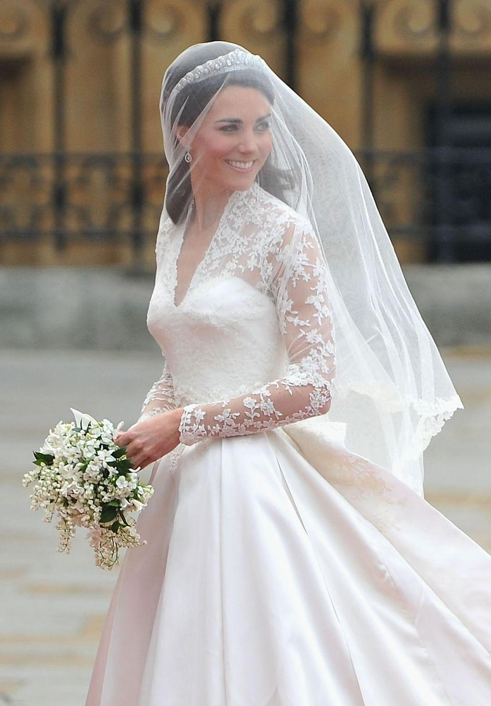 <p>Kate's bouquet consisted of lily of the valley, hyacinths, a sprig of myrtle, and Sweet William.</p><p>Kate's train measured two metes long – far shorter than Princess Diana's which measured a staggering 25 feet in length. </p><p>Her dress also featured 58 gazar and organza covered buttons on the back, fastened by rouleau loops.</p>