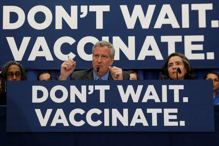 New York City Mayor Bill de Blasio speaks during a news conference declaring a public health emergency in parts of Brooklyn in response to a measles outbreak, requiring unvaccinated people living in the affected areas to get the vaccine or face fines, in the Orthodox Jewish community of the Williamsburg neighborhood, in Brooklyn, New York City, U.S., April 9, 2019. REUTERS/Shannon Stapleton