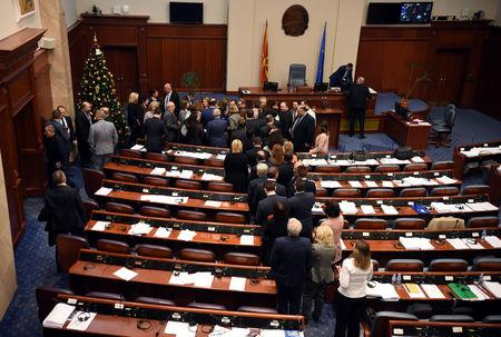 Deputies of the Macedonian parliament vote to pass constitutional changes to allow the Balkan country to change its name to the Republic of North Macedonia, in Skopje, Macedonia, January 11, 2019.REUTERS/ Tomislav Georgiev