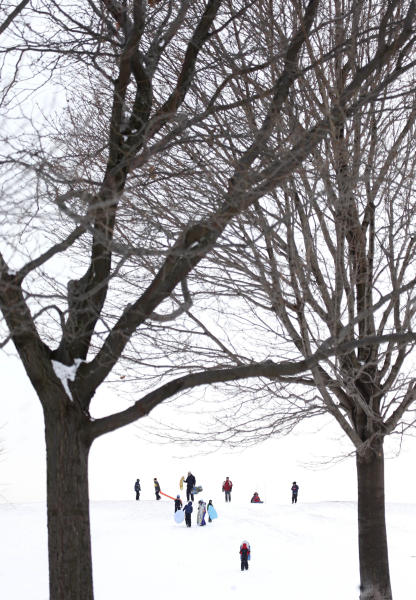 Sledding enthusiasts take to Cricket Hill at Montrose Beach Park Friday, Jan. 3, 2014, in Chicago. Single-digit temperatures are hitting Illinois after the state was blanketed in snow. Meanwhile, residents are bracing for a deep freeze. Highs early next week likely won't reach zero and wind chills could sink to 45 below. (AP Photo/Charles Rex Arbogast)
