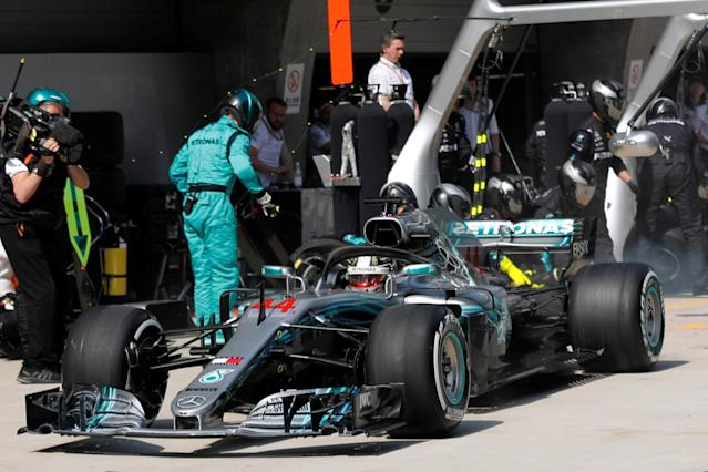 Formula One - F1 - Chinese Grand Prix - Shanghai, China - April 15, 2018 - Mercedes driver Valtteri Bottas of Finland speeds off from the pit stop during the race. Pool via REUTERS
