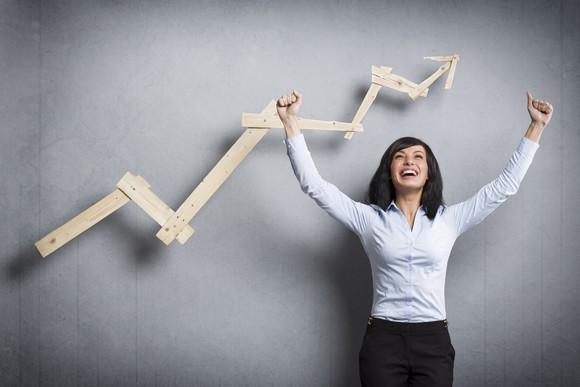 Excited person with arms raised in front of an upward sloping chart.
