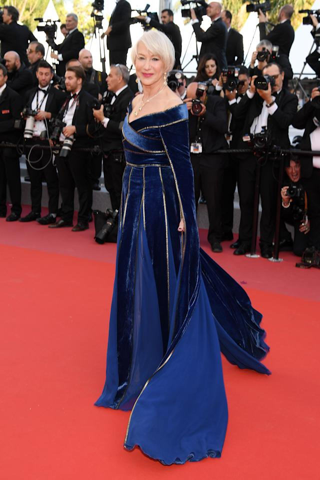 The actress chose a regal blue Elie Saab gown (complete with impressive sleeves) for the red carpet back in 2018. <em>[Photo: Getty]</em>
