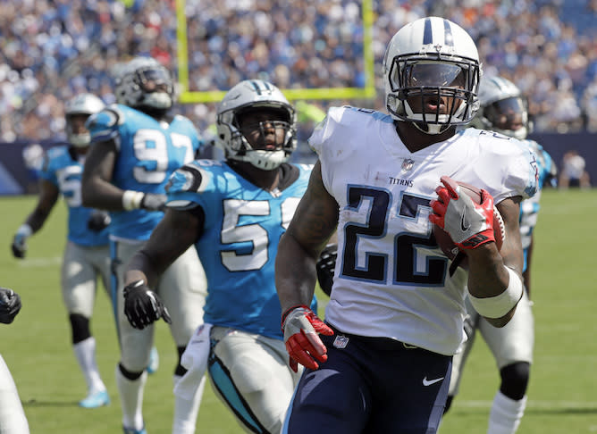 Derrick Henry pounded the Panthers, but he remains a premium backup. (AP)