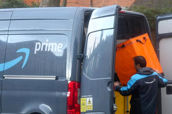 A driver of Amazon prime prepares for delivery in London. (Photo by Dinendra Haria / SOPA Images/Sipa USA)
