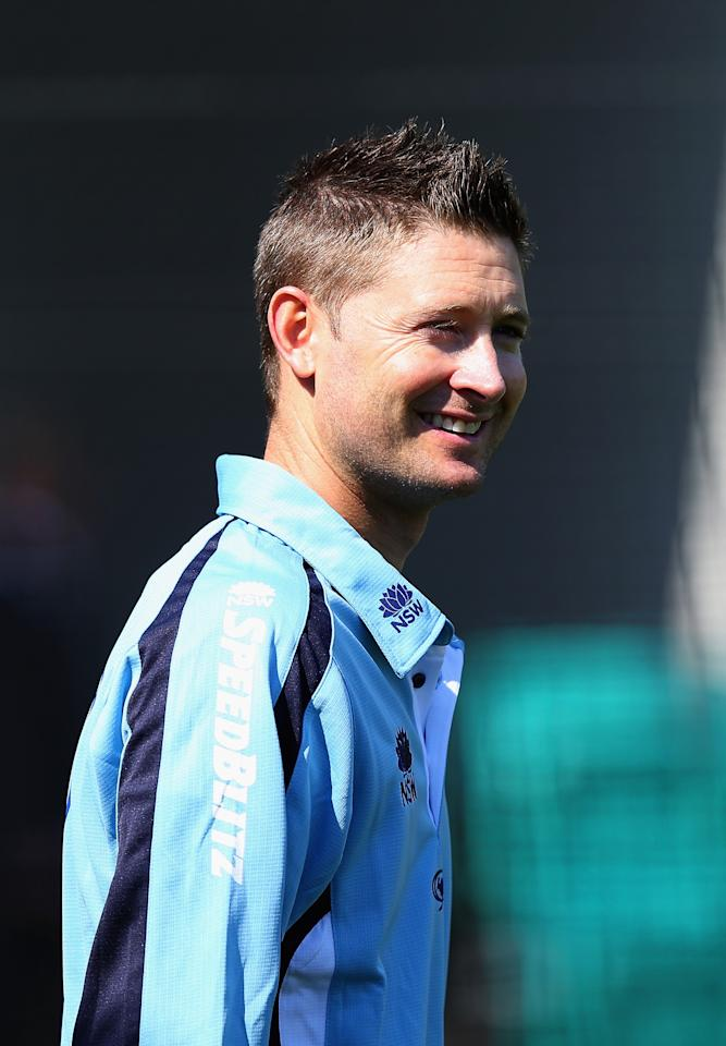 SYDNEY, AUSTRALIA - SEPTEMBER 12:  Michael Clarke of the NSW Blues looks on during a NSW Blues nets session at the Sydney Cricket Ground on September 12, 2012 in Sydney, Australia.  (Photo by Ryan Pierse/Getty Images)