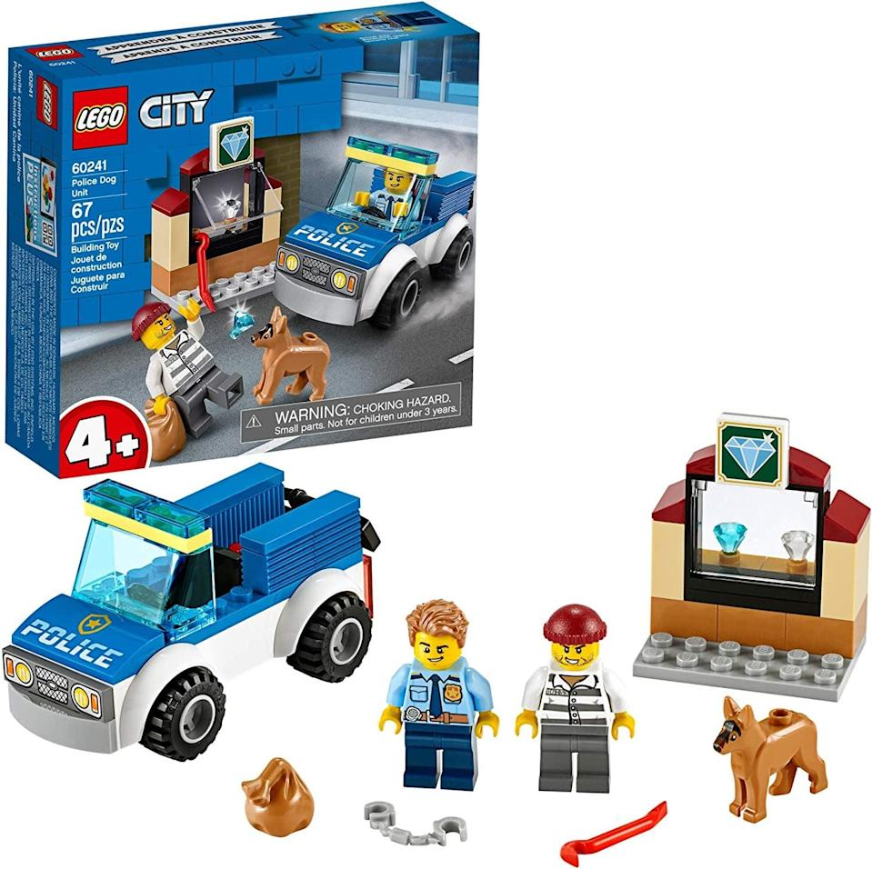 "<p>The <a href=""https://www.popsugar.com/buy/Lego-City-Police-Dog-Unit-551160?p_name=Lego%20City%20Police%20Dog%20Unit&retailer=amazon.com&pid=551160&price=10&evar1=moms%3Aus&evar9=47243673&evar98=https%3A%2F%2Fwww.popsugar.com%2Ffamily%2Fphoto-gallery%2F47243673%2Fimage%2F47243762%2FLego-City-Police-Dog-Unit&list1=toys%2Ctoy%20fair%2Ckid%20shopping%2Ckids%20toys&prop13=api&pdata=1"" class=""link rapid-noclick-resp"" rel=""nofollow noopener"" target=""_blank"" data-ylk=""slk:Lego City Police Dog Unit"">Lego City Police Dog Unit</a> ($10) has 67 pieces and is best suited for kids ages 4 and up.</p>"