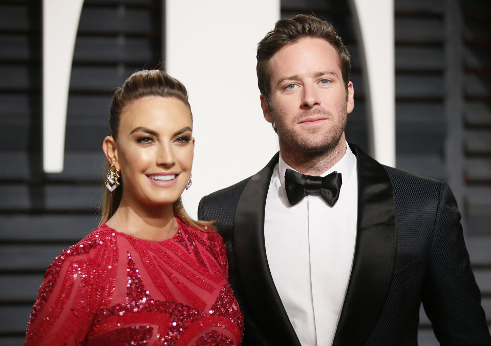 Elizabeth Chambers, here with Armie Hammer at the Vanity Fair Oscar party in 2017, issues new statement amid actor's controversy.