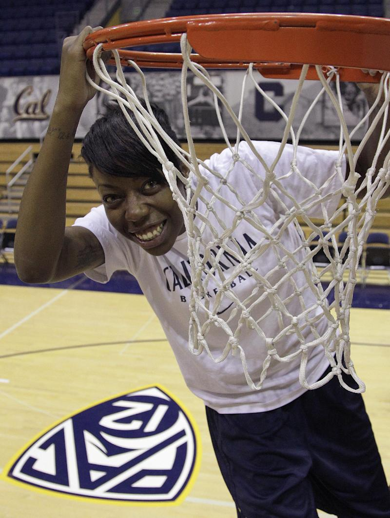 In this photo taken, Tuesday, Nov. 13, 2012,  California basketball player Tierra Rogers poses for a photo under the net in Haas Pavillion in Berkeley, Calif. (AP Photo/Ben Margot)