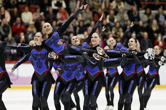 ISU World Synchronized Skating Championships 2019 - Free Skating - Helsinki, Finland - April 13, 2019. Team Marigold Ice Unity from Finland performs. Lehtikuva/Roni Rekomaa via REUTERS ATTENTION EDITORS - THIS IMAGE WAS PROVIDED BY A THIRD PARTY. NO THIRD PARTY SALES. NOT FOR USE BY REUTERS THIRD PARTY DISTRIBUTORS. FINLAND OUT. NO COMMERCIAL OR EDITORIAL SALES IN FINLAND.