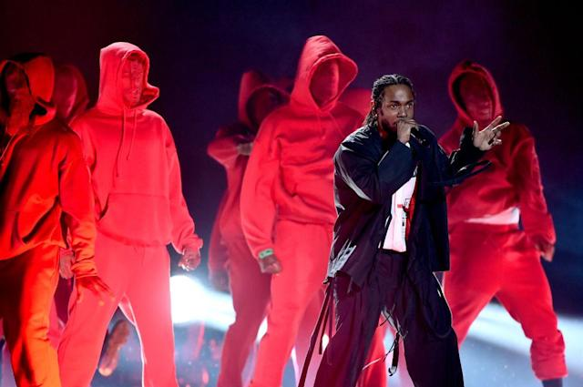 <p>Kendrick Lamar performs onstage during the 60th Annual Grammy Awards at Madison Square Garden on January 28, 2018, in New York City. (Photo: Getty Images) </p>