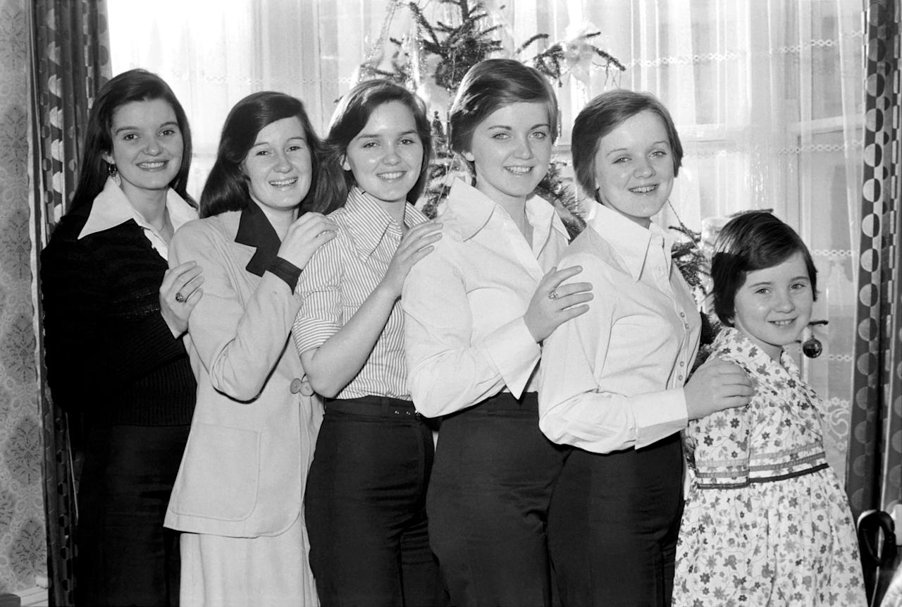 They are the Nolan Sisters and they live at Ilford. L/R Anne (24), Denise (22), Maureen (20), Linda (15), Bernadette (14), Coleen (9). December 1974 74-7611-002 (Photo by WATFORD/Mirrorpix/Mirrorpix via Getty Images)