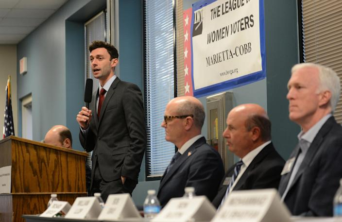 Democratic candidate Jon Ossoff speaks during the League of Women Voters' candidate forum for Georgia's 6th Congressional District special election to replace Tom Price, who is now the secretary of Health and Human Services, in Marietta, Georgia, U.S. April 3, 2017. Picture taken April 3, 2017. REUTERS/Bita Honarvar