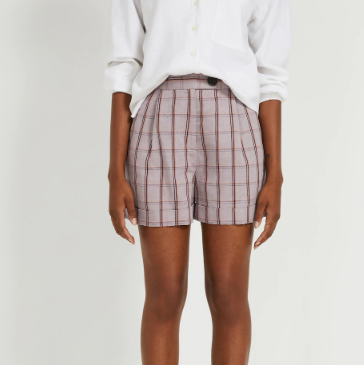 Linen-Tencel® High-Waisted Plaid Shorts in Lavender