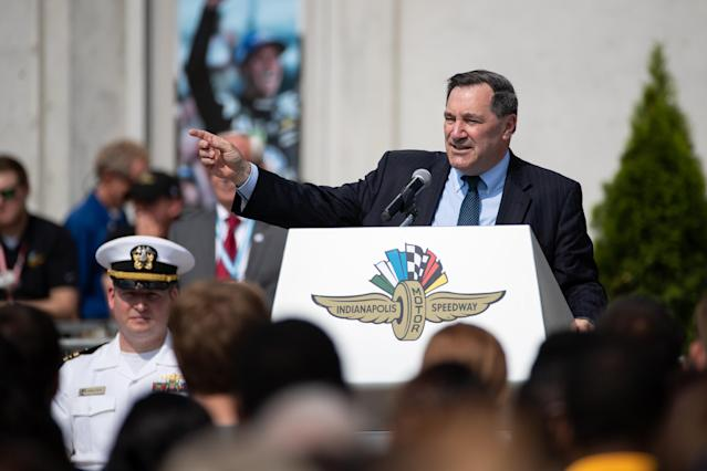 "<span class=""s1"">Sen. Joe Donnelly speaks during an Armed Forces enlistment ceremony at the Indianapolis Motor Speedway on May 20. (Photo: Adam Lacy/Icon Sportswire via Getty Images)</span>"