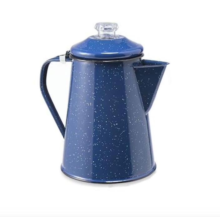 "Young recommends getting an enamel percolator for your RV. <a href=""https://fave.co/2F3wfwm"" rel=""nofollow noopener"" target=""_blank"" data-ylk=""slk:We found this GSI Outdoors Enamelware 8-Cup Percolator for $28 at REI"" class=""link rapid-noclick-resp"">We found this GSI Outdoors Enamelware 8-Cup Percolator for $28 at REI</a>."