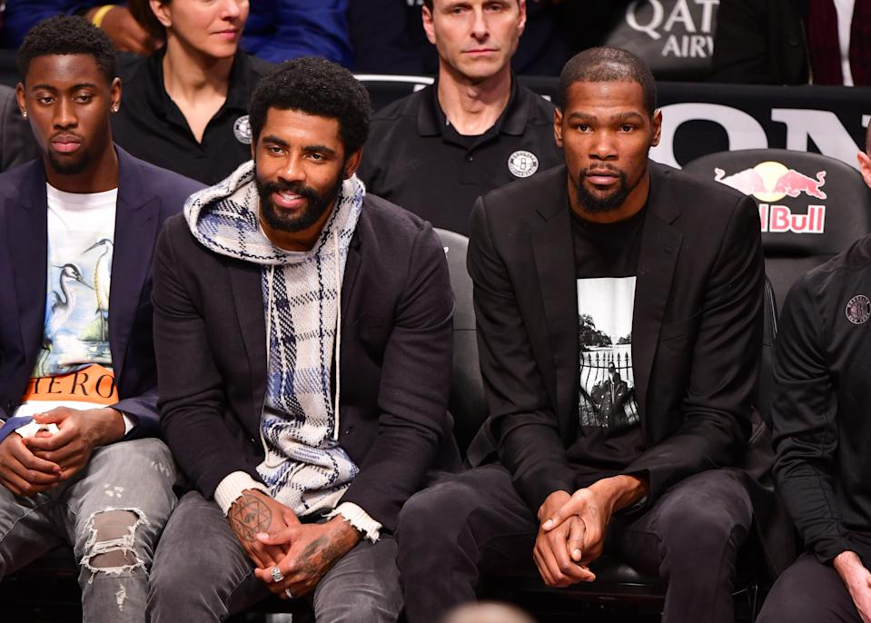 Kyrie Irving and Kevin Durant take the focus off Caris LeVert and the rest of the Brooklyn Nets. (James Devaney/Getty Images)