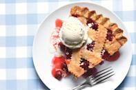 """You've never had a cherry pie this good—an incredible sour cherry filling, a light and flaky crust, and vanilla ice cream to top it all off. <a href=""""https://www.epicurious.com/recipes/food/views/classic-sour-cherry-pie-with-lattice-crust-242514?mbid=synd_yahoo_rss"""" rel=""""nofollow noopener"""" target=""""_blank"""" data-ylk=""""slk:See recipe."""" class=""""link rapid-noclick-resp"""">See recipe.</a>"""